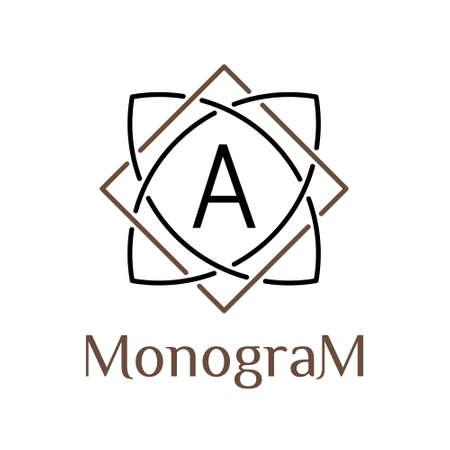 celtic art: celtic knot vector minimal monochrome hipster vintage linear border , label , frame , badge for your monogram or logo type Illustration