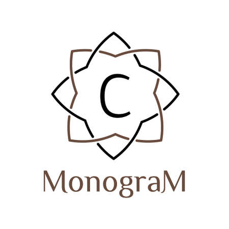 label frame: flower minimal linear monochrome vector hipster vintage  label , frame , border ,  badge for your monogram or logo