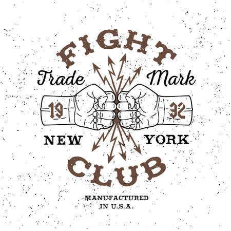 fight: boxing monochrome vector label , badge , logo   Fight Club  for hipster  flyer, poster or t-shirt print with fist, lightning and text
