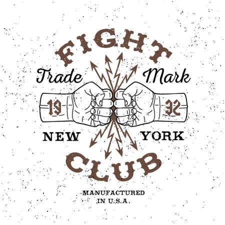 """puños cerrados: vector etiqueta monocromo boxeo, insignia, logotipo de """"Fight Club"""" para el inconformista folleto, cartel o una camiseta impresa con el puño, el relámpago y el texto Vectores"""