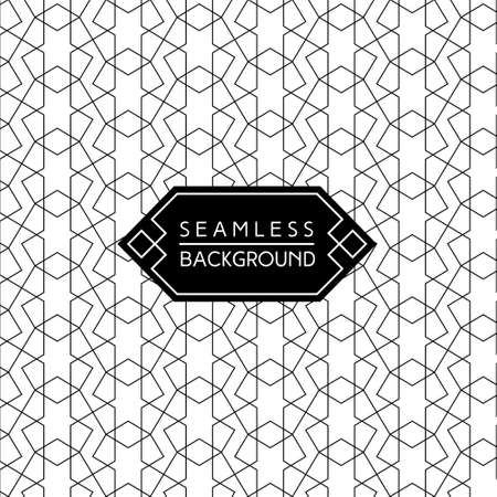 art line: seamless vintage art deco black and white wallpaper or background with hipster label or badge Vectores