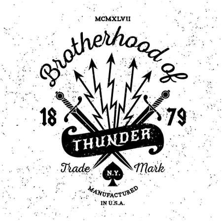 """Hippie vintage label de vecteur, insigne, logo """"Fraternité de Thunder"""" pour l'affiche, tatouage ou t-shirt imprimé avec l'épée, la foudre, le ruban et lettrage Banque d'images - 45352194"""