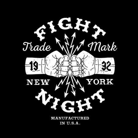 """puños cerrados: vector de la etiqueta de la vendimia de boxeo inconformista, insignia, logotipo de """"Fight Night"""" para el cartel, folleto o una camiseta impresa con el puño, los rayos y las letras Vectores"""