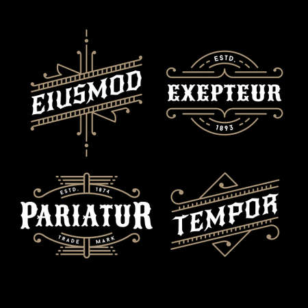 set monochrome art deco luxury antique gold hipster minimal geometric vintage linear vector frame , border , label  for your logo, badge or crest Vectores