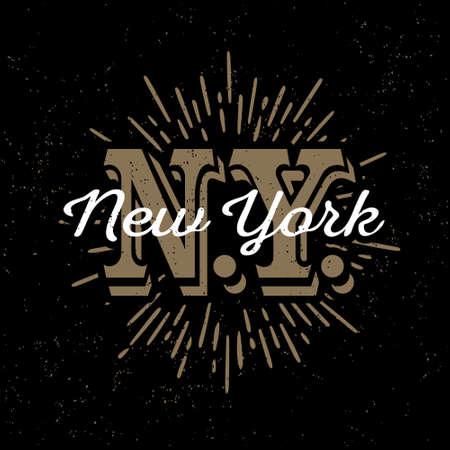 """Etiqueta en blanco y negro de la vendimia inconformista, insignia, logotipo de """"Nueva York"""" para el cartel, flayer o camisa de estampado de la camiseta con el monograma y Starburst Foto de archivo - 45352197"""