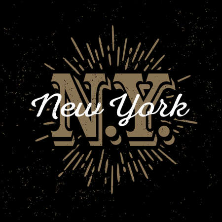 monochrome hipster vintage label, badge, logo  New York for poster,  flayer or tee shirt print with monogram and starburst Ilustração