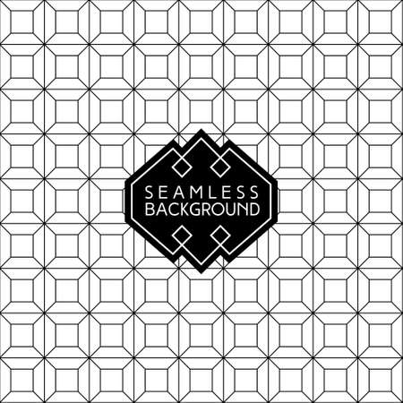 art design: abstract arabic geometrical seamless art deco monochrome  wallpaper or background with hipster label or badge