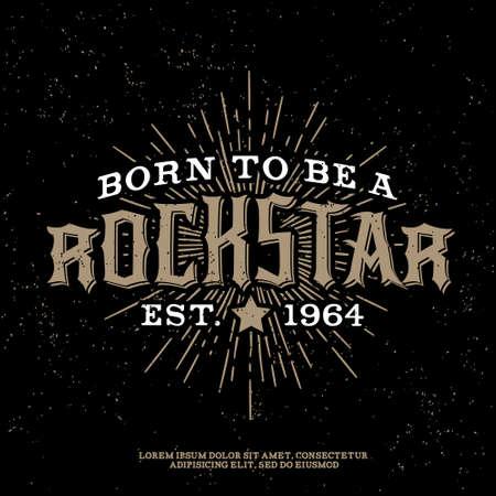 """흑백 벡터 hipster의 복고풍 배지, 라벨, 문자, 스타, 스타 버스트와 레이와 포스터, 플래이어 또는 T 셔츠 인쇄 로고 """"록 스타"""""""