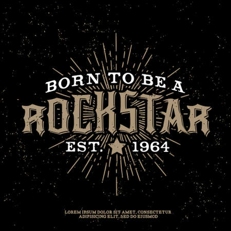 heavy metal: monochrome vector hipster retro badge , label, logo   rock star  for poster ,  flayer or t-shirt print with lettering , star , starburst and ray