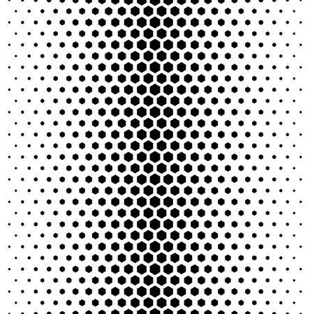 Vector modern tiles pattern. Abstract gradient op art seamless monochrome background with hexagon Vettoriali