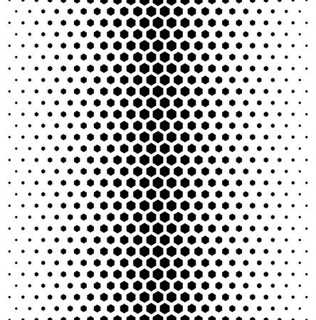 Vector modern tiles pattern. Abstract gradient op art seamless monochrome background with hexagon Ilustração