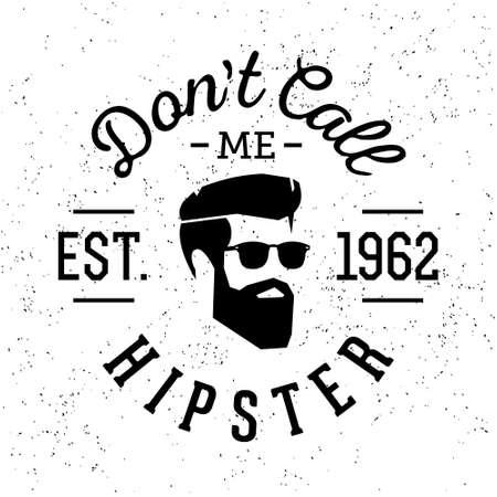 """tatouage: monochrome badge vintage label noir et blanc ou le logo """"Je ne suis pas Hipster"""" avec des lunettes t�te de la barbe (T-Shirt Print)"""