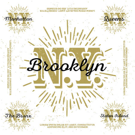 monochrome hipster vintage label, badge, logo  Brooklyn, Manhattan, Queens, Bronx, Staten Island  for poster,  flayer or tee shirt print with monogram New York