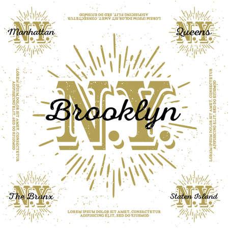 """Monocromo inconformista del vintage, insignia, insignia """"de Brooklyn, Manhattan, Queens, Bronx, Staten Island"""" para el cartel, flayer o camisa de impresión camiseta con el monograma de Nueva York Foto de archivo - 45352205"""