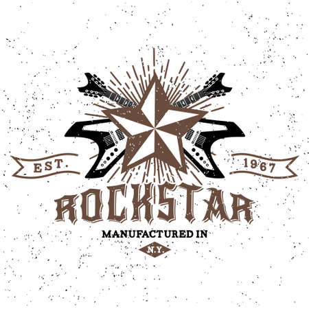 hard rock: monochrome hipster vintage label , badge , logo   rock star  for flayer, poster or t-shirt print with electric guitar, starburst, ray and lettering