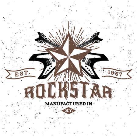 """Monocromo inconformista del vintage, insignia, logotipo de """"estrella de rock"""" para flayer, cartel o una camiseta de impresión con la guitarra eléctrica, starburst, rayos y las letras Foto de archivo - 45352204"""