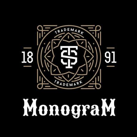 Lujo clásico art deco lineal en blanco y negro de oro inconformista mínima geométrica de la vendimia del vector monograma, marco, frontera, etiqueta para su logotipo o insignia de la cresta Foto de archivo - 45352208