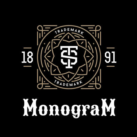 luxury classic  art deco linear monochrome golden minimal hipster  geometric vintage vector monogram, frame , border , label  for your logo badge or crest