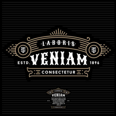 vintage border: golden luxury art deco monochrome vector hipster minimal geometric vintage linear frame , border , label ,  badge for your logo or crest