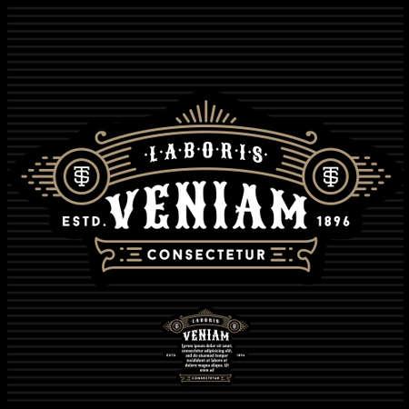 golden luxury art deco monochrome vector hipster minimal geometric vintage linear frame , border , label ,  badge for your logo or crest