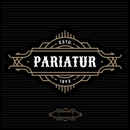 art deco antique luxury gold monochrome hipster minimal geometric vintage linear vector frame , border , label  for your logo badge or crest Illustration