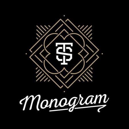 Art déco de luxe or classique monochrome linéaire géométrique hippie minimale monogramme vintage vector, cadre, frontière, l'étiquette pour votre badge logo ou l'insigne Banque d'images - 45352401