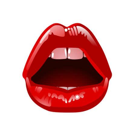 Cosméticos y maquillaje. hermosos labios Detalle de mujer con lápiz labial rojo y brillo. Sexy labio húmedo maquillaje. Boca abierta. Dulce beso. Foto de archivo - 45352404