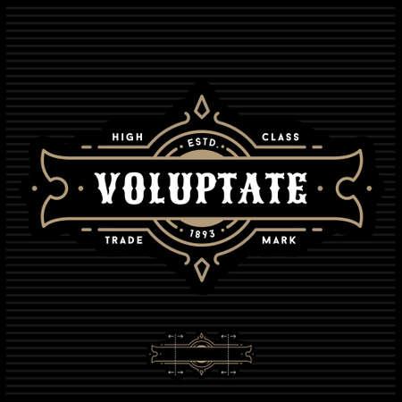 luxury art deco antique gold monochrome hipster minimal geometric vintage linear vector frame , border , label  for your logo badge or crest 일러스트