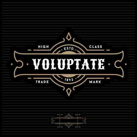 luxury art deco antique gold monochrome hipster minimal geometric vintage linear vector frame , border , label  for your logo badge or crest Vectores