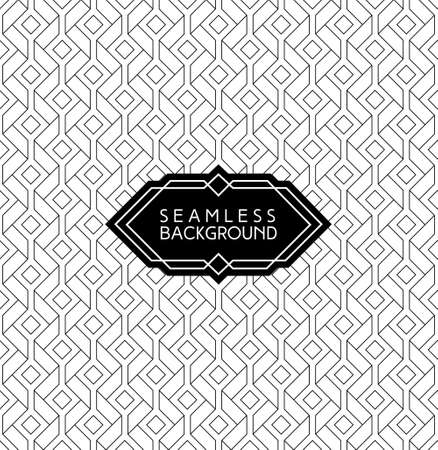 monochrome seamless arabic art deco black and white wallpaper or background with hipster label or badge