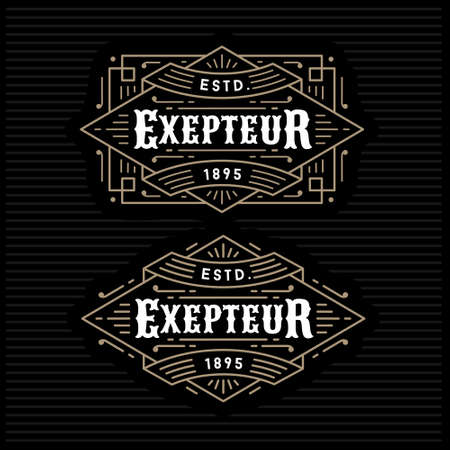 luxury antique gold monochrome art deco hipster minimal geometric vintage linear vector frame , border , label  for your logo, badge or crest