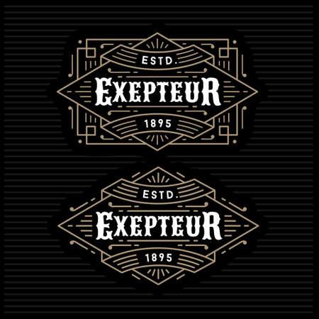 szüret: luxus antik arany fekete-fehér art deco csípő minimális geometriai szüret lineáris vektor keret, határ, címkét a logót, jelvény vagy címer Illusztráció