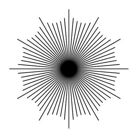 Monocromo estilo inconformista negro Starburst retro vector con el rayo y el brillo para el sello distintivo o logotipo Foto de archivo - 45352414