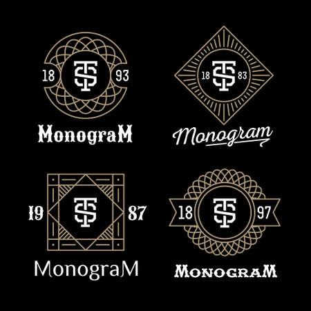 insignias: establecer art deco de lujo clásico monocromo lineal de oro inconformista mínima geométrica monograma vector vendimia, marco, frontera, etiqueta para el logotipo de su tarjeta de identificación o cresta