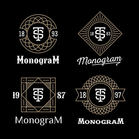 vintage badge: set art deco luxury classic linear monochrome golden minimal hipster geometric vintage vector monogram, frame , border , label  for your logo badge or crest