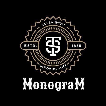 Art deco de lujo clásico blanco y negro de oro lineal mínima inconformista geométrica vector vendimia monograma, marco, frontera, etiqueta para su logotipo o insignia de la cresta Foto de archivo - 45352410