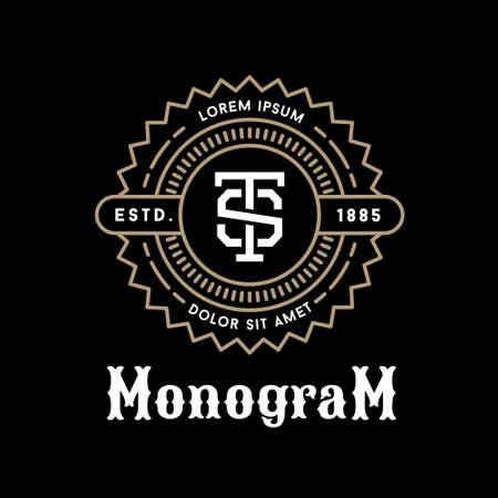 art deco luxury classic linear monochrome golden minimal hipster  geometric vintage vector monogram, frame , border , label  for your logo badge or crest Illustration