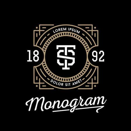 ビンテージ: クラッシック ・ アートデコ風高級線形白黒黄金最小限ヒップスター ビンテージ ベクトルの幾何学的なモノグラム、フレーム、枠線、バッジ ロゴや家紋のラベル