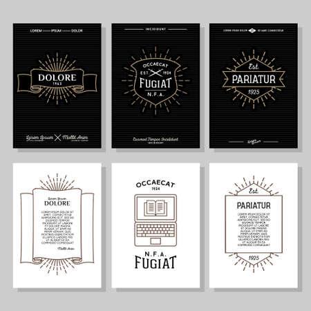 set hipster typografie monochrome vintage etiket, flyer of poster met kam, logo, ster uitbarsting, lint, schild, zwaard, laptop Stock Illustratie