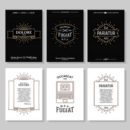 set hipster typography monochrome vintage label, flyer or poster with crest, logo, star burst, ribbon, shield, sword, laptop