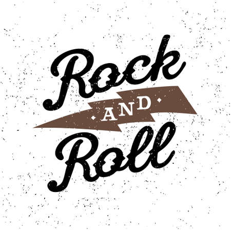 the rock: monochrome vector hipster retro crest, badge , label, logo   rock and roll  for poster ,  flayer or t-shirt print with lettering , lightning Illustration