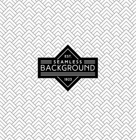 art deco monochrome seamless arabic black and white wallpaper or background with hipster label or badge Illustration