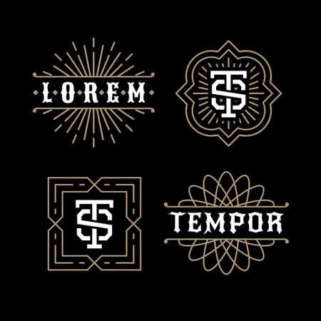 당신의 로고 배지 또는 문장에 대한 고전적인 럭셔리 황금 아르 데코 선형 흑백 최소 힙 스터 기하학적 빈티지 벡터 모노그램, 프레임, 테두리, 라벨