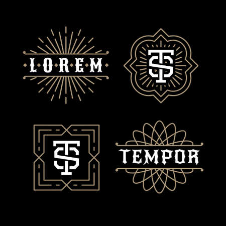 classic luxury golden art deco linear monochrome minimal hipster geometric vintage vector monogram, frame , border , label  for your logo badge or crest