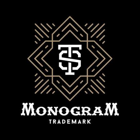 Art deco de lujo de oro clásico monocromo lineal inconformista mínima geométrica monograma vector vendimia, marco, frontera, etiqueta para el logotipo de su tarjeta de identificación o cresta Foto de archivo - 45352807