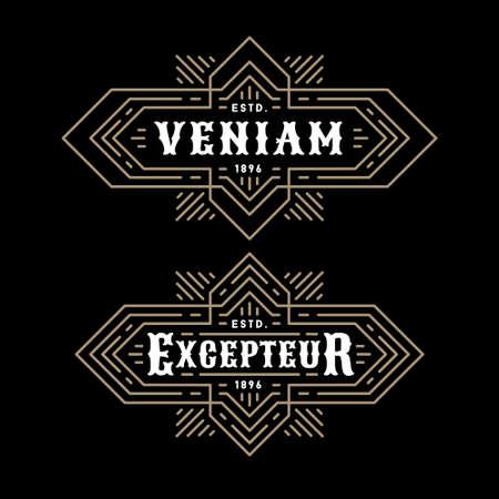 art logo: luxury art deco classic golden linear monochrome minimal hipster geometric vintage vector frame , border , label  for your logo badge or crest with starburst