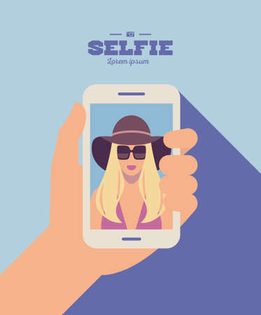 flat cartoon stylish hipster girl character taking selfie photo on smart phone, vector illustration with hand