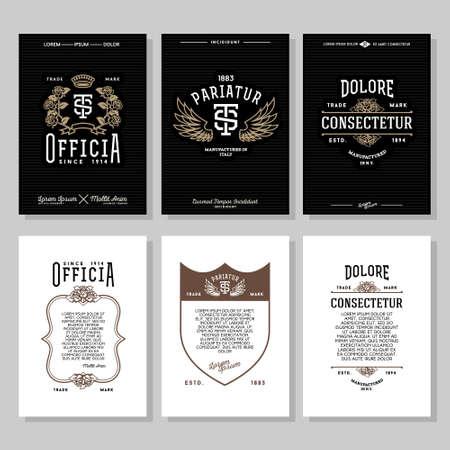 insignia: establecer vendimia etiqueta monocromo tipografía inconformista, folleto o cartel con cresta, logotipo, corona, flor, ala, escudo de club, bar, cafetería, restaurante, hotel, boutique