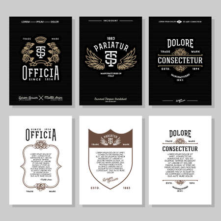 antique art: set vintage hipster typography monochrome label, flyer or poster with crest, logo, crown, flower, wing, shield for club, bar, cafe, restaurant, hotel , boutique