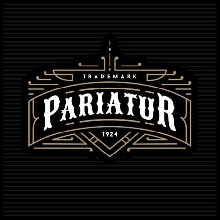 art logo: monochrome art deco luxury antique gold hipster minimal geometric vintage linear vector frame , border , label  for your logo, badge or crest for club, bar, cafe, restaurant, hotel, boutique